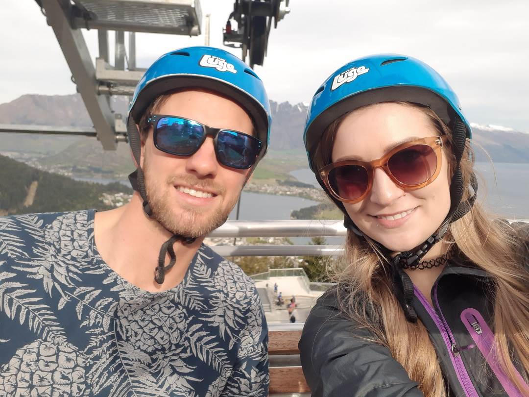 on the luge chairlift selfie