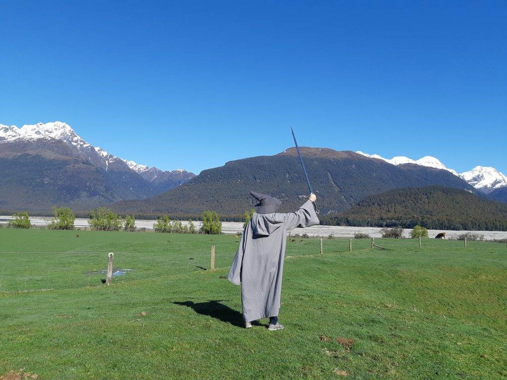 Daniel dressed up as Gandalf on a Lord of the Rings tour in Queenstown, New Zealand