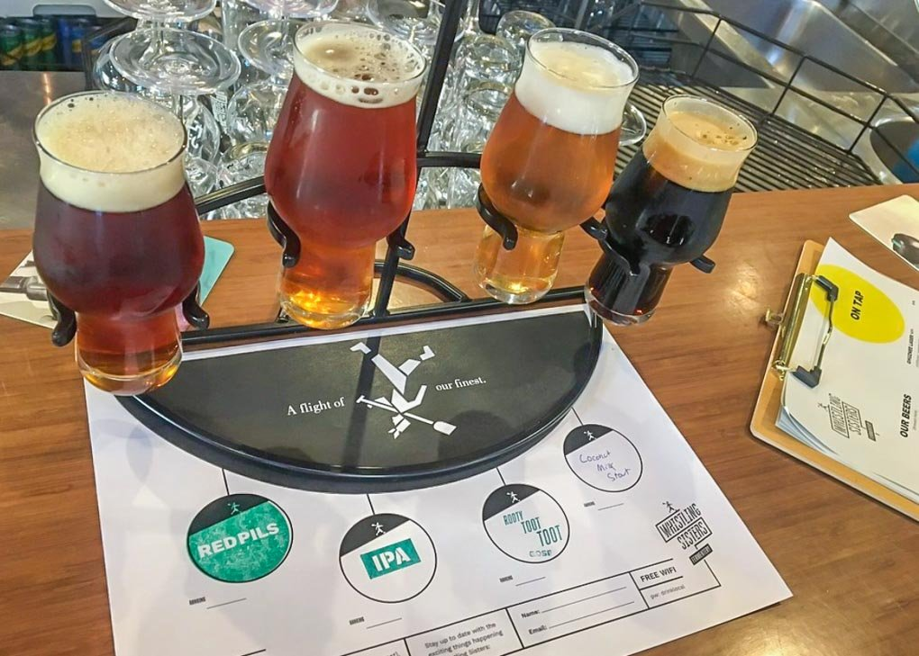 A tasting paddle at whistling sisters brewery wellington