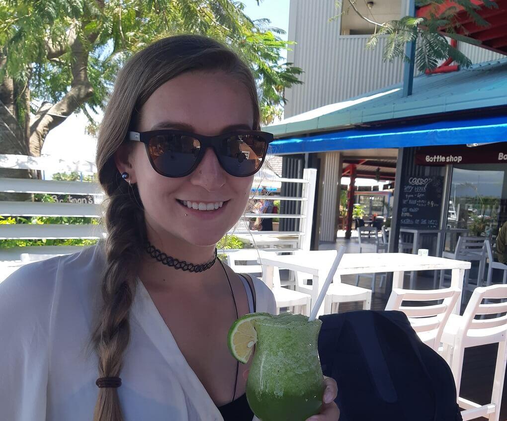 enjoying a drink in danarau fiji