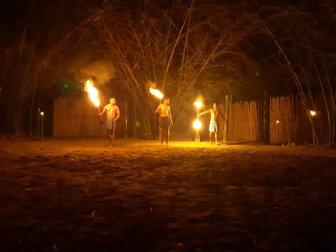 fire dancers at the fiji culture village