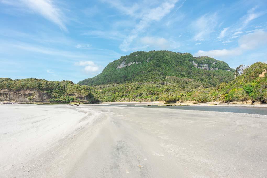 Walking along the beach in Punakaiki, New Zealand