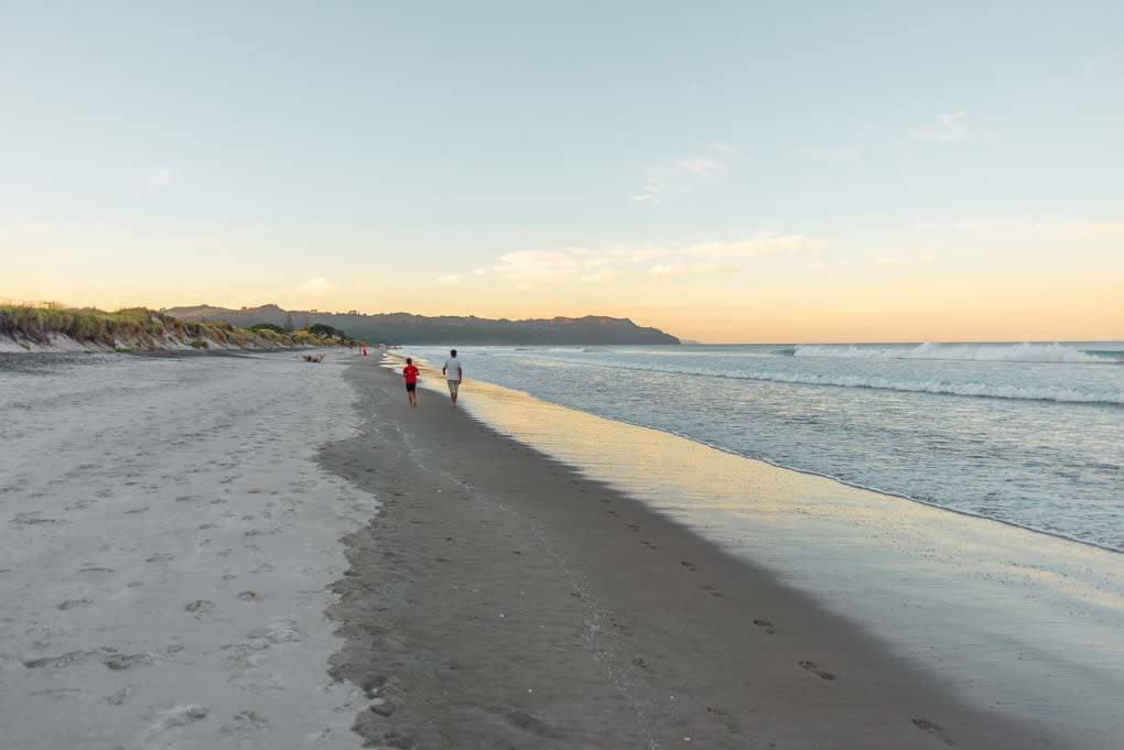 Waihi Beach in the Bay of Plenty, New Zealand at sunset