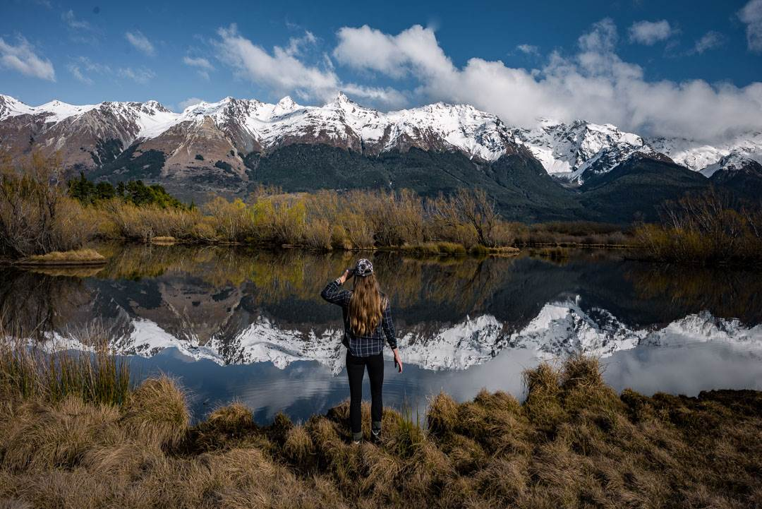One of the best stops on a New Zealand road trip is mirror lakes