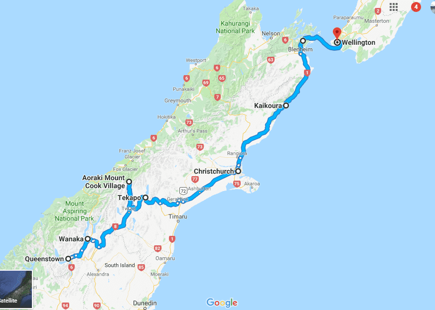 The south to north island New Zealand road trip idea