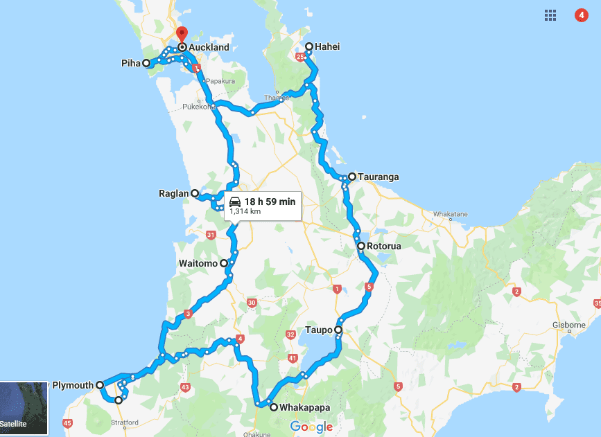 North island new Zealand road trip itinerary