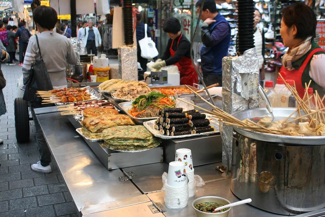 Food stalls in Myeong-dong