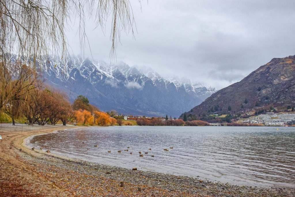 The quiet side of Lake Wakatipu in Frankton, Queenstown