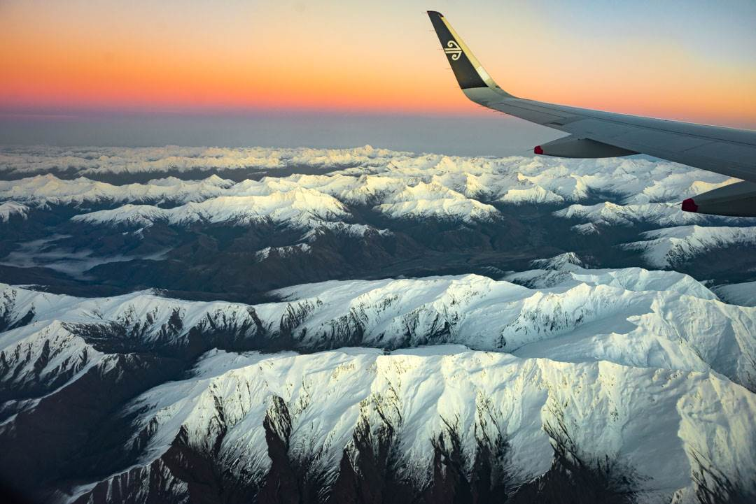 flying into Queenstown over the mountains