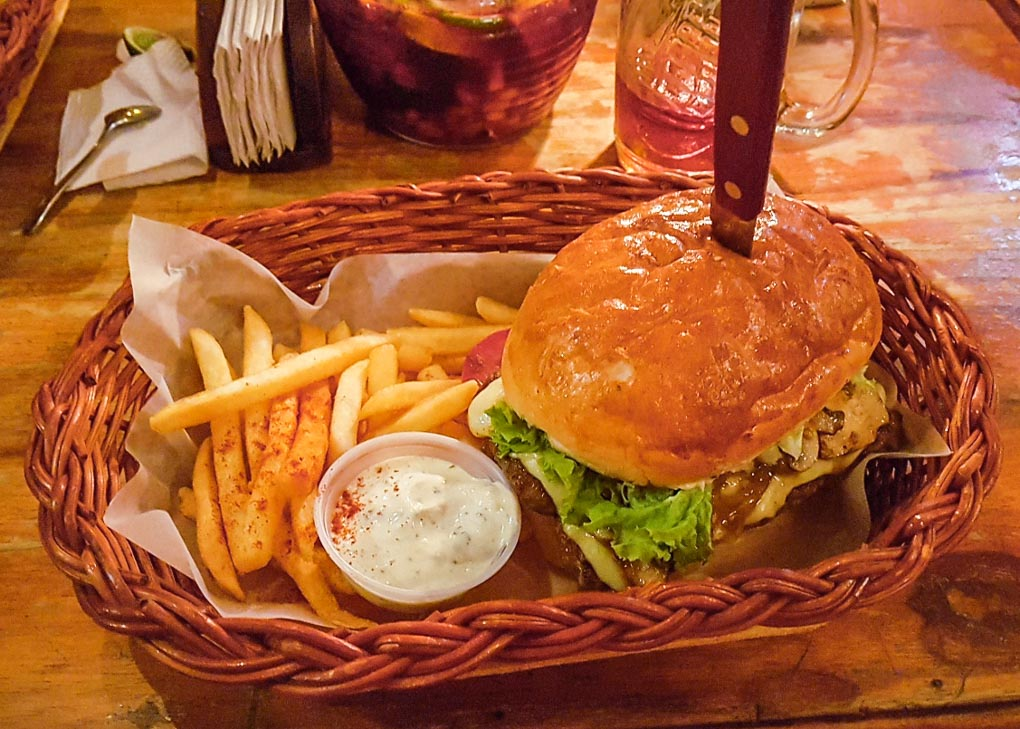 A burger at Gringo Mike's in San Gil, Colombia