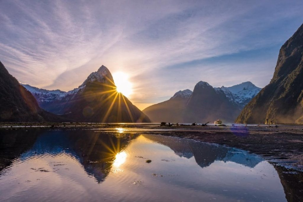 A sunset in Milford Sound on New Zealand's south island