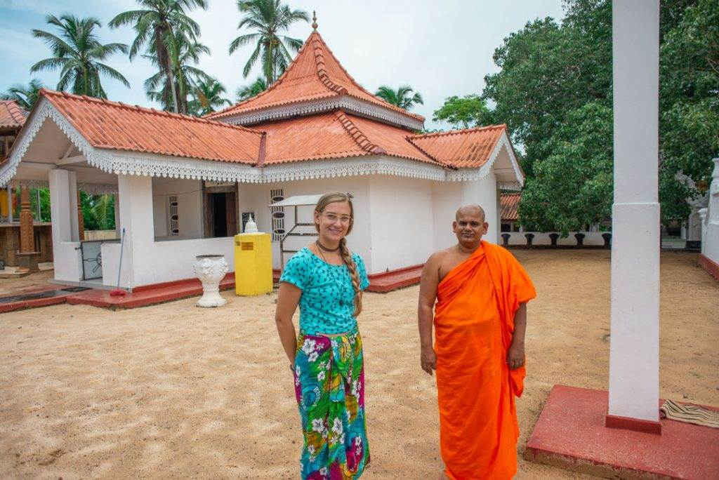at the buddist monestary in hikkaduwa sri lanka