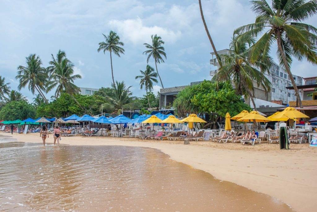 The beach bars in Mirissa