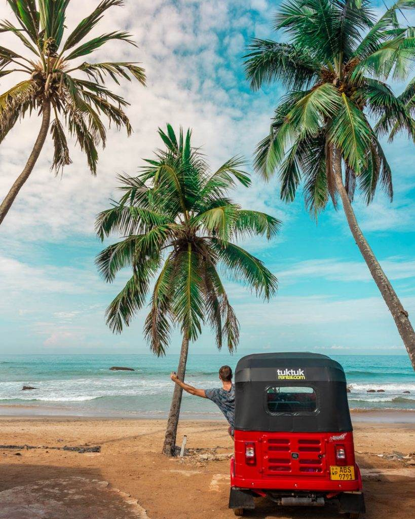 Renting a tuk tuk in Sri Lanka to get around to see places in Mirissa