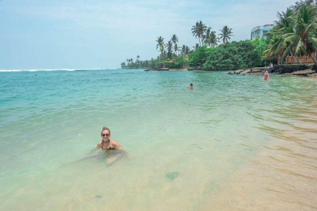 relaxing at turtle beach near mirissa, Sri Lanka