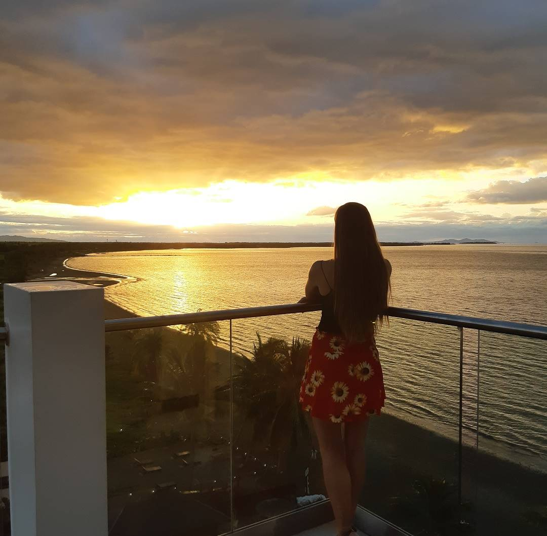 enjoying a sunset at the Ramada in Nadi, Fiji