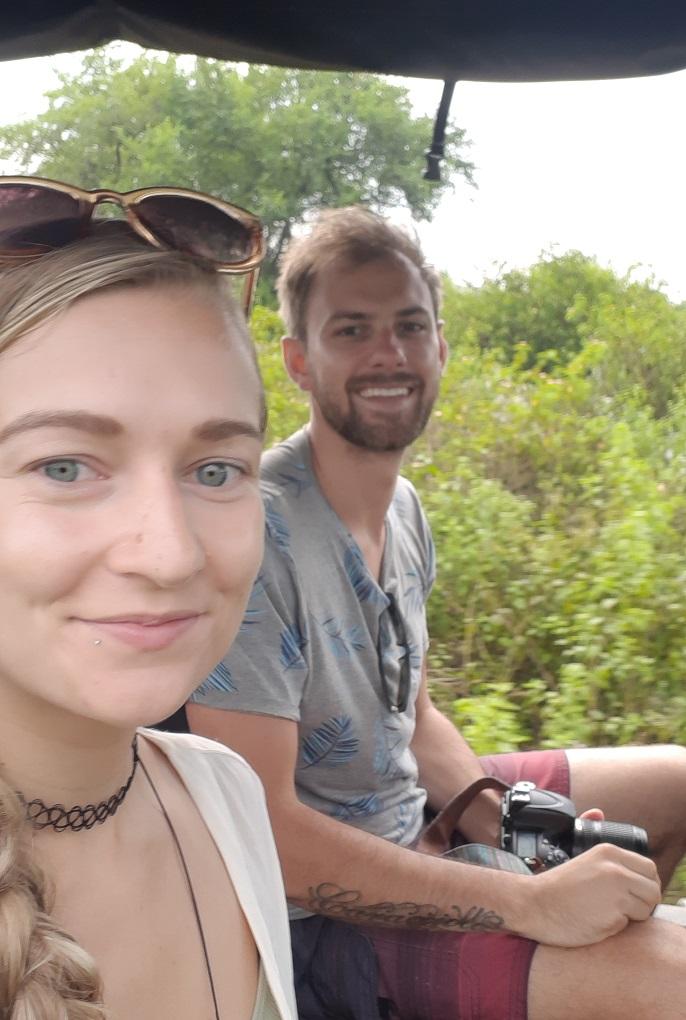 selfie in on an elephant safari in sri lanka