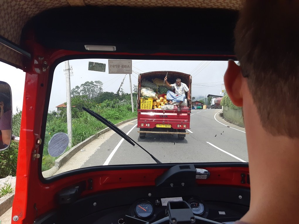 driving in a tuk-tuk in Sri Lanka
