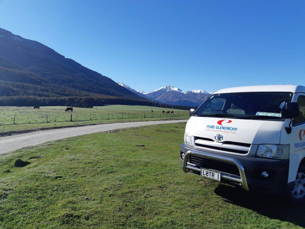 Our pure Glenorchy van on our Queenstown Lord of the Rings tour