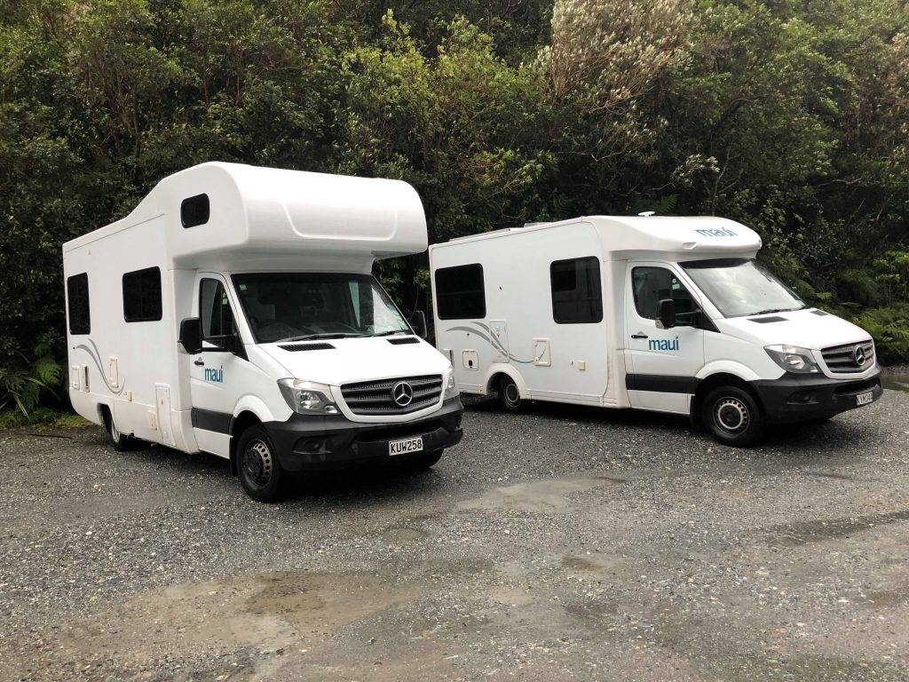 Two motorhomes in New Zealand