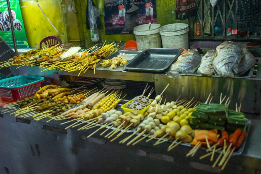 BBQ skewers in myanmar
