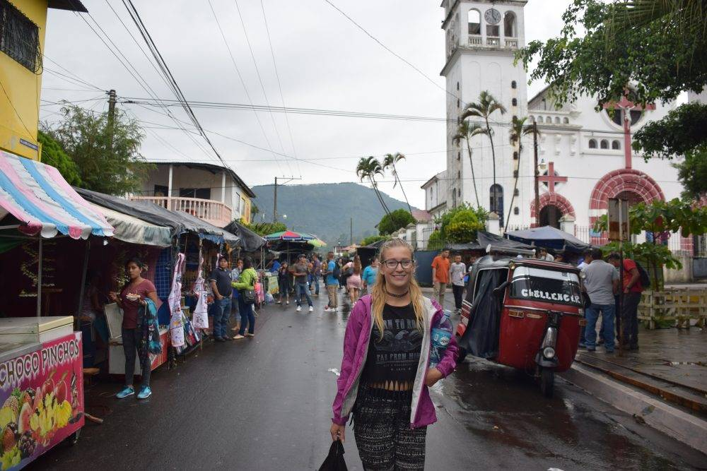 bailey walking in Juayua in the Ruta de las Flores