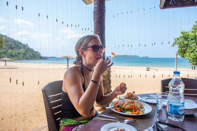Eating seafood in Trincomalee