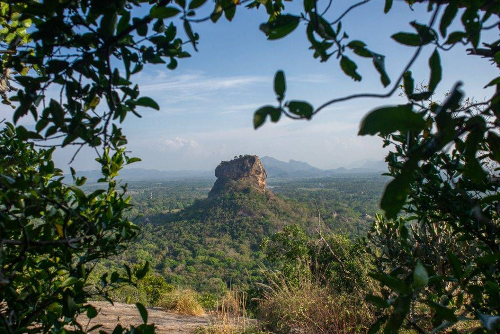 Sigiria rock or Lion Rock in the town of Sigiriya