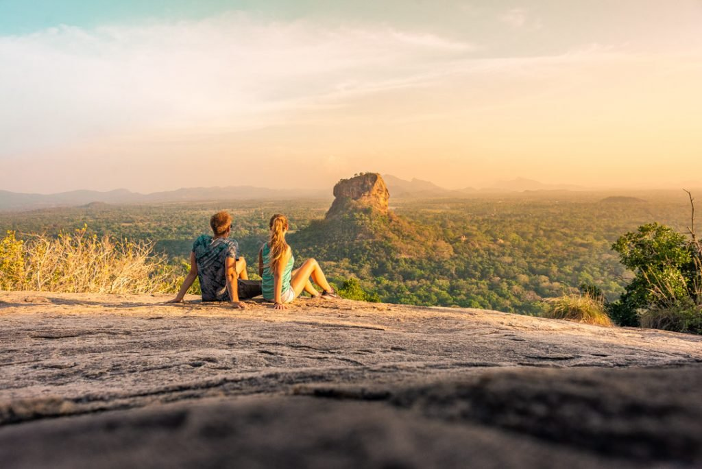 A magical sunset up at Pindurangala Rock in Sigiriya, Sri Lanka overlooking Sigiriya Rock