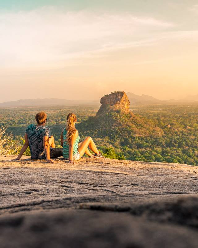 A magical sunset on Pidurangala Rock overlooking Sigiriya Rock/Lion Rock