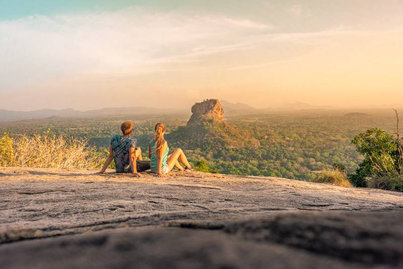 Watching the sunset over Sigiriya Rock