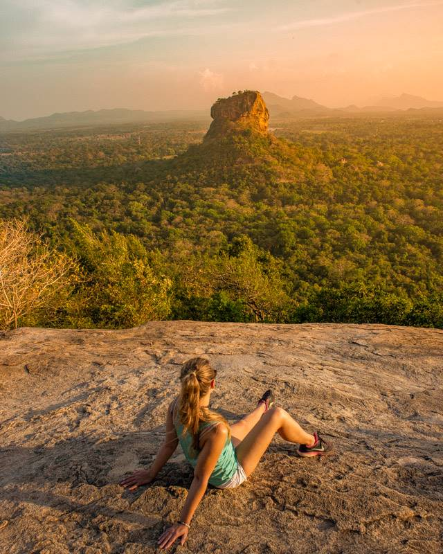 Looking over at Lion rock from Pidurangala Rock at sunset