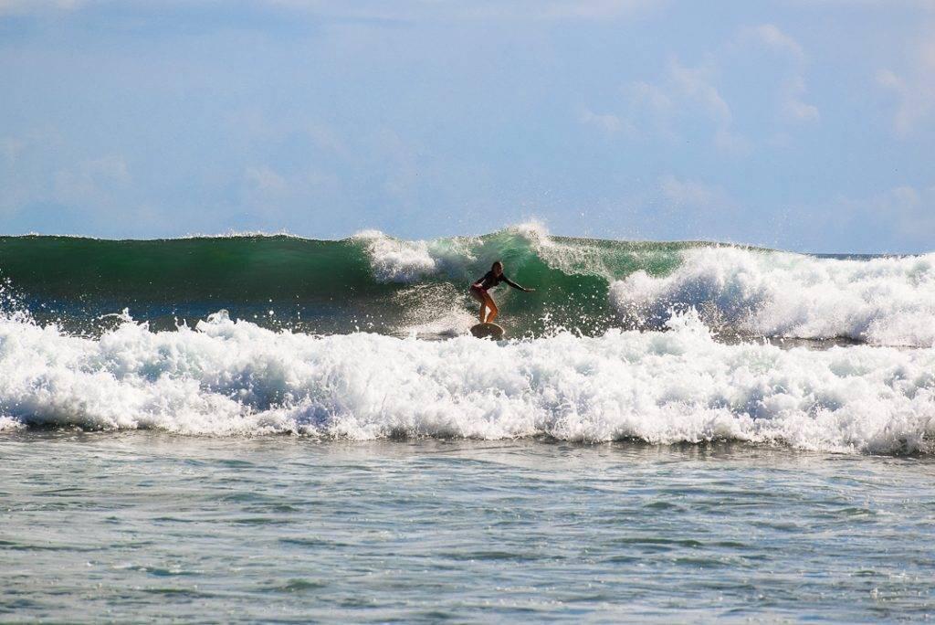 Bailey surfing in Sri Lanka