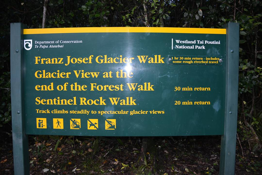 The official sign for the Franz josef glacier walk