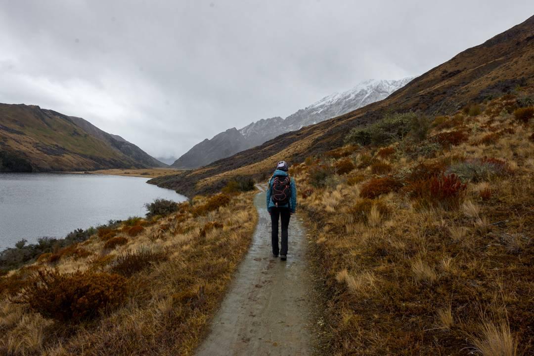 hiking at Moke Lake New Zealand