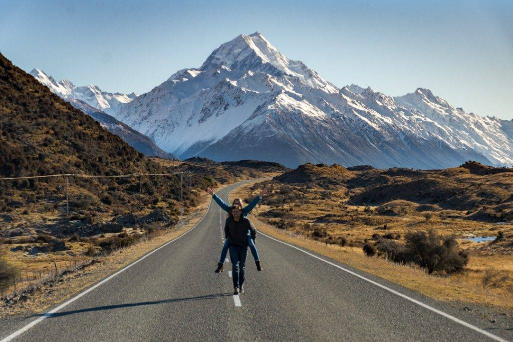 Taking the Mount Cook road photo in Mount Cook National Park