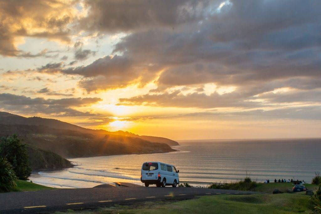 sunset and van in new zealand