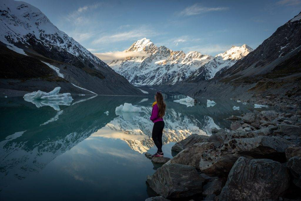 The hooker LAke at the end of the Hooker Valley track