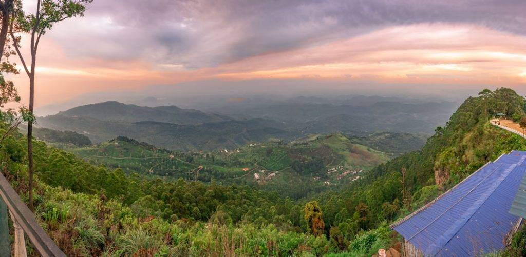 sunrise at litpons seat sri lanka. Panoramic image.