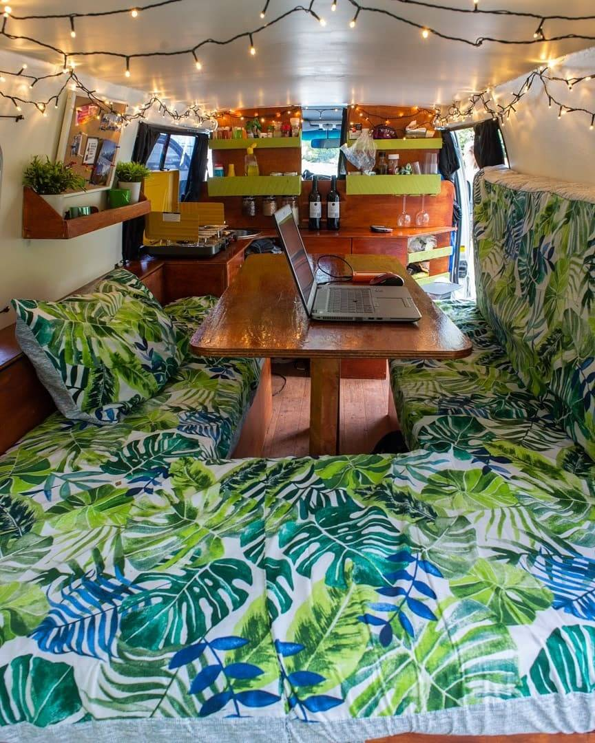 the inside of our self contained van