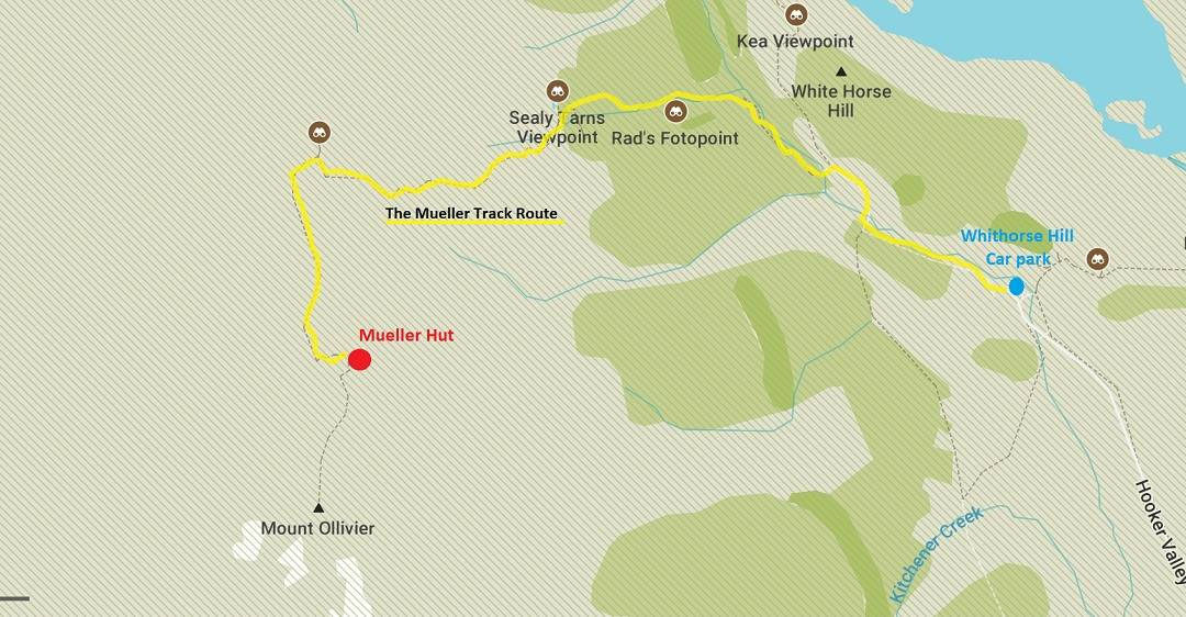 mueller hut route map from White Horse Hill Campground