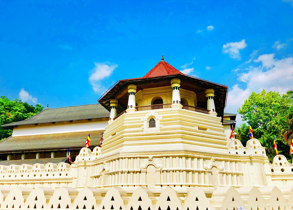 the outside of the Temple of the Tooth in Kandy