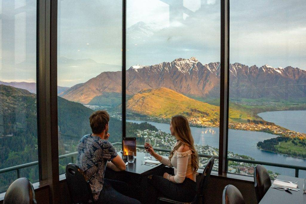 the view from the stratsfare restaurant at skyline in queenstown