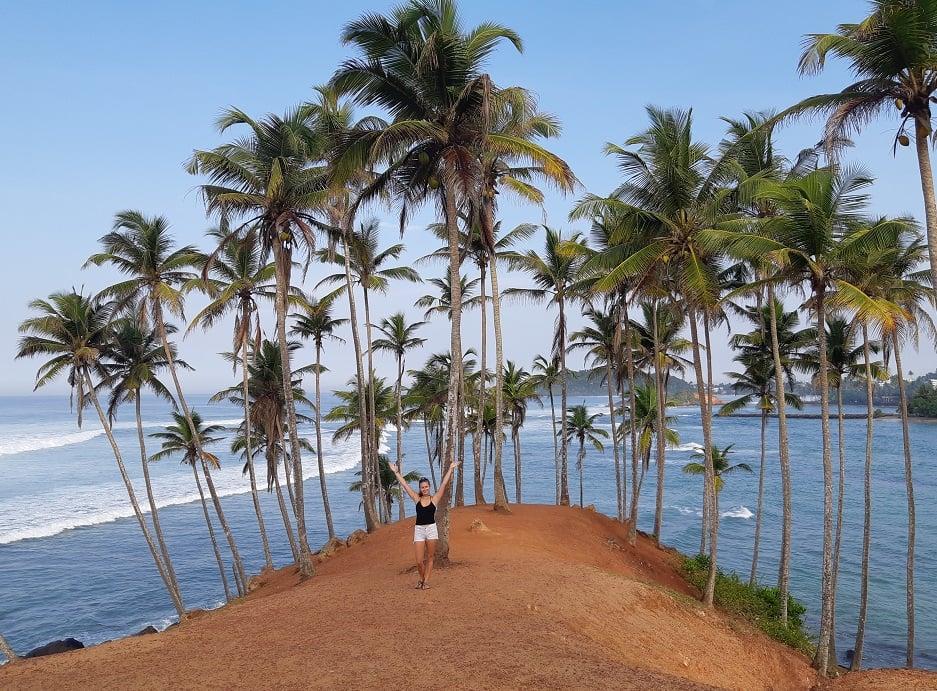 Bailey poses on Coconute Tree hill, Sri Lanka