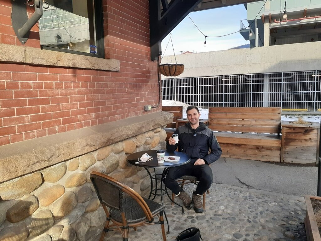 Sitting outside Ratio cafe in Vernon