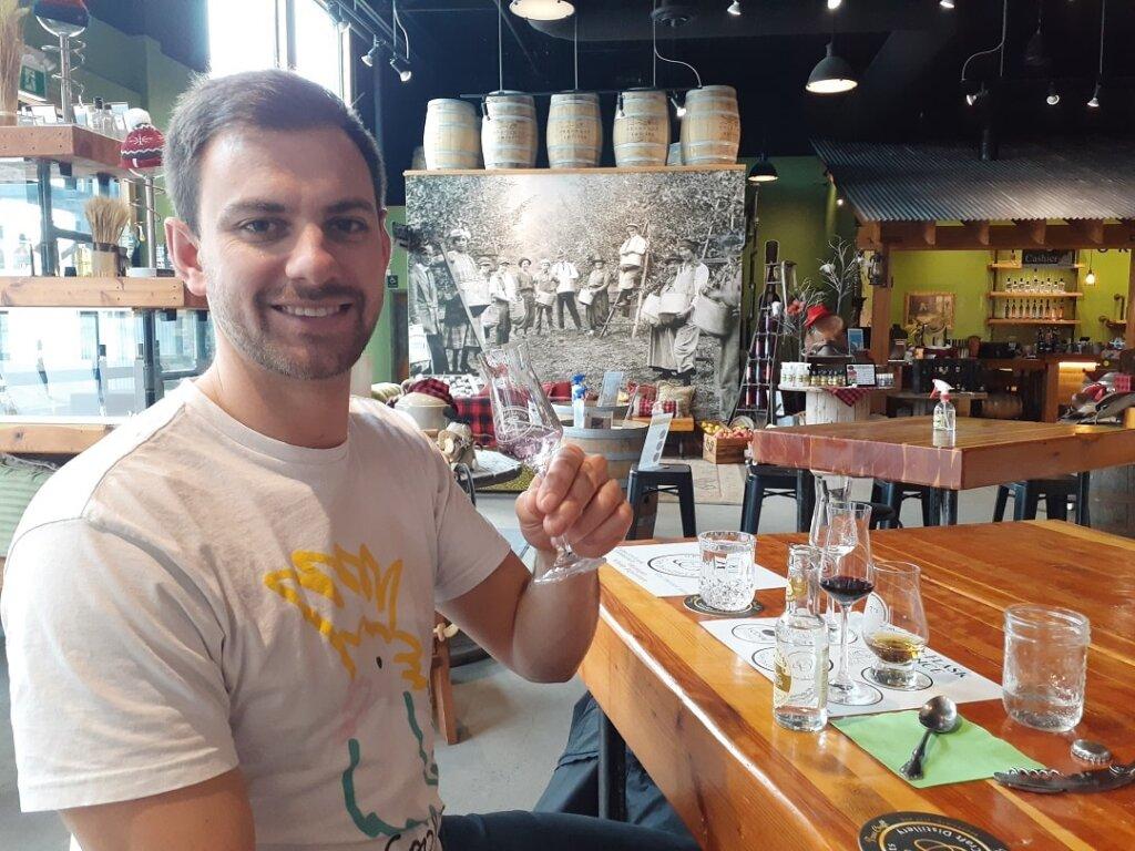 tasting spirits at the Okanagan Distillery in Vernon, BC