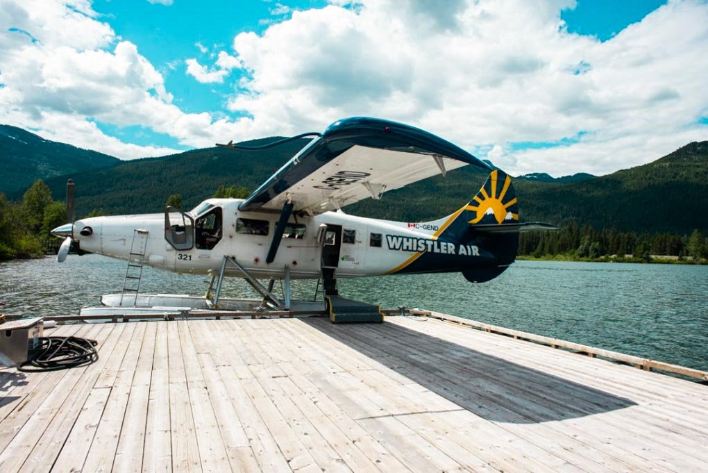 A Whistler Air plane sits in a lake in Whistler, Canada