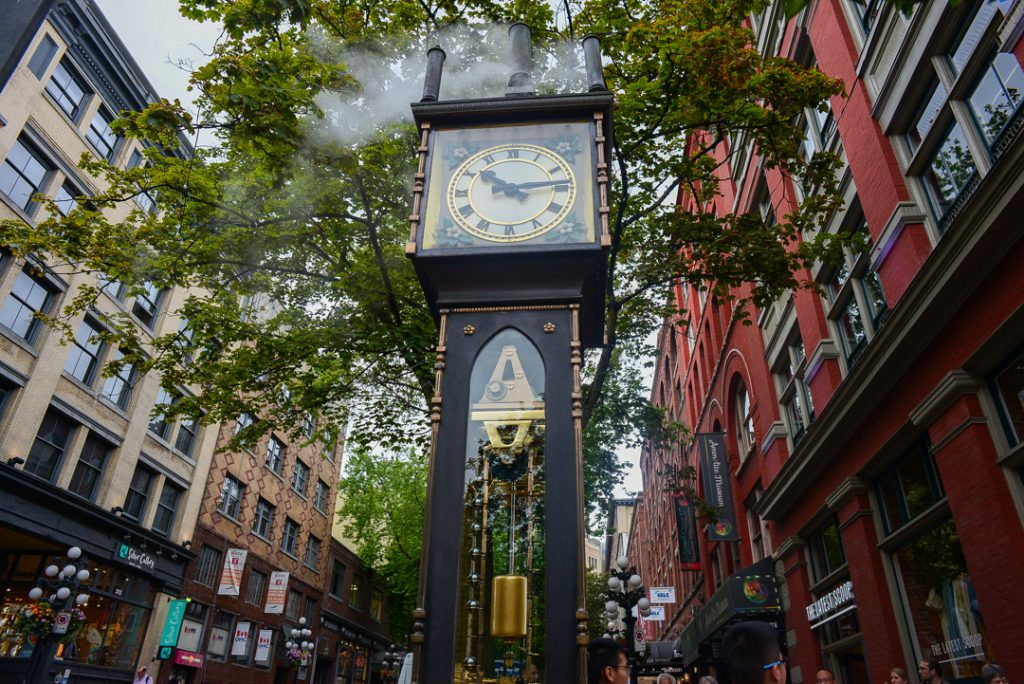 The steam clock in Vancouver as seen on our food tour