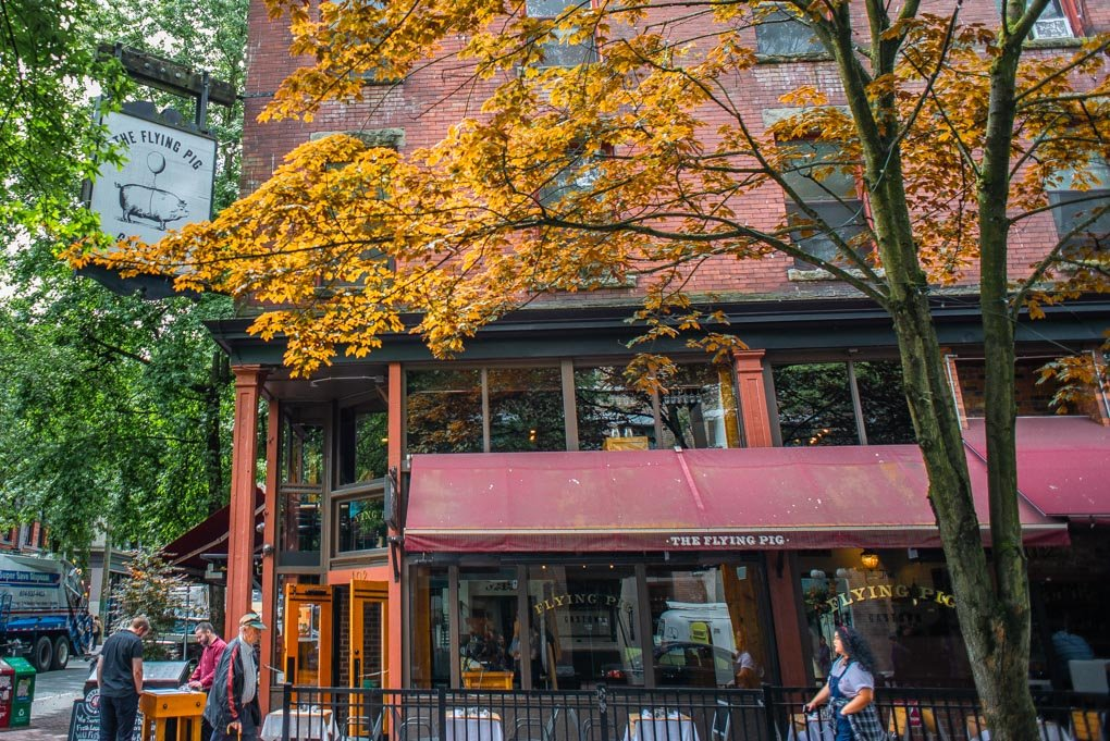 A cute street in Gastown, Vancouver on our food tour