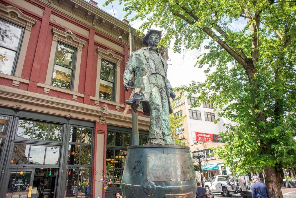 The statue of Gassy Jack in Gastown, Vancouver that we visited on a food tour